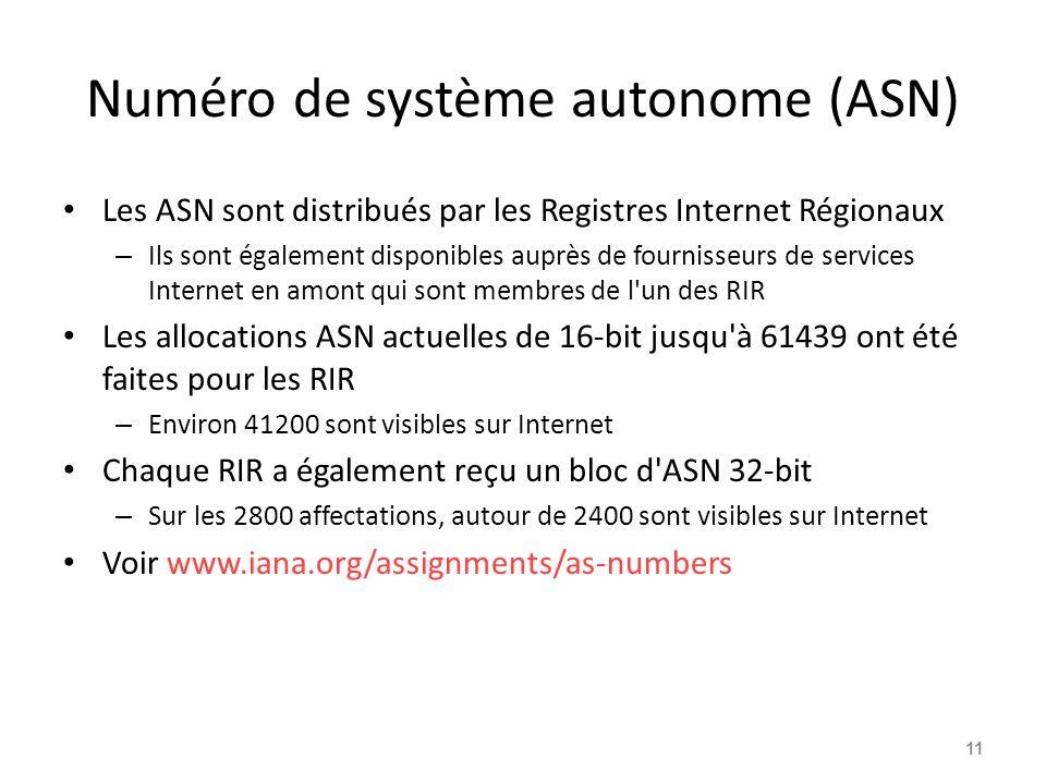 Numéro de système autonome (ASN) Les ASN sont distribués par les Registres Internet Régionaux – Ils sont également disponibles auprès de fournisseurs