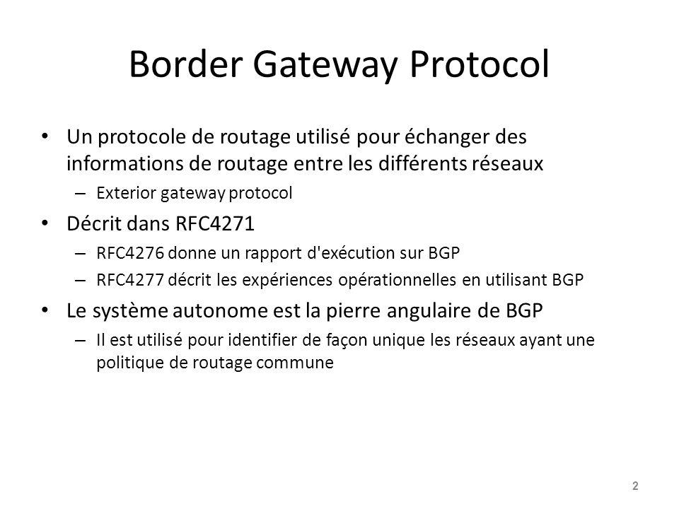 Border Gateway Protocol Un protocole de routage utilisé pour échanger des informations de routage entre les différents réseaux – Exterior gateway prot