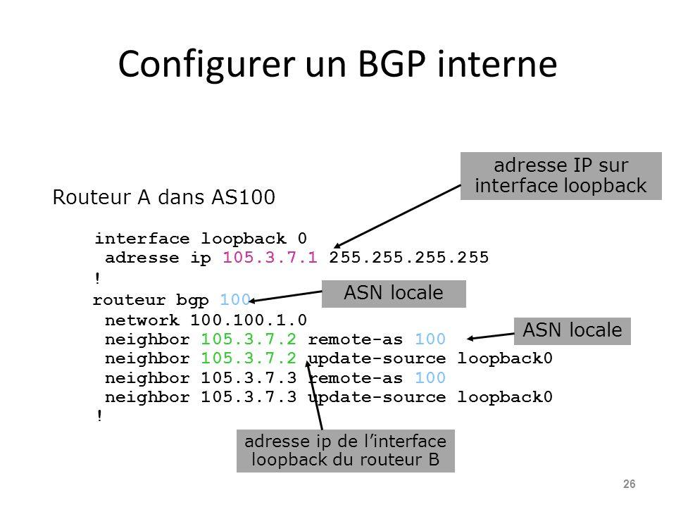 Configurer un BGP interne 26 Routeur A dans AS100 interface loopback 0 adresse ip 105.3.7.1 255.255.255.255 ! routeur bgp 100 network 100.100.1.0 neig