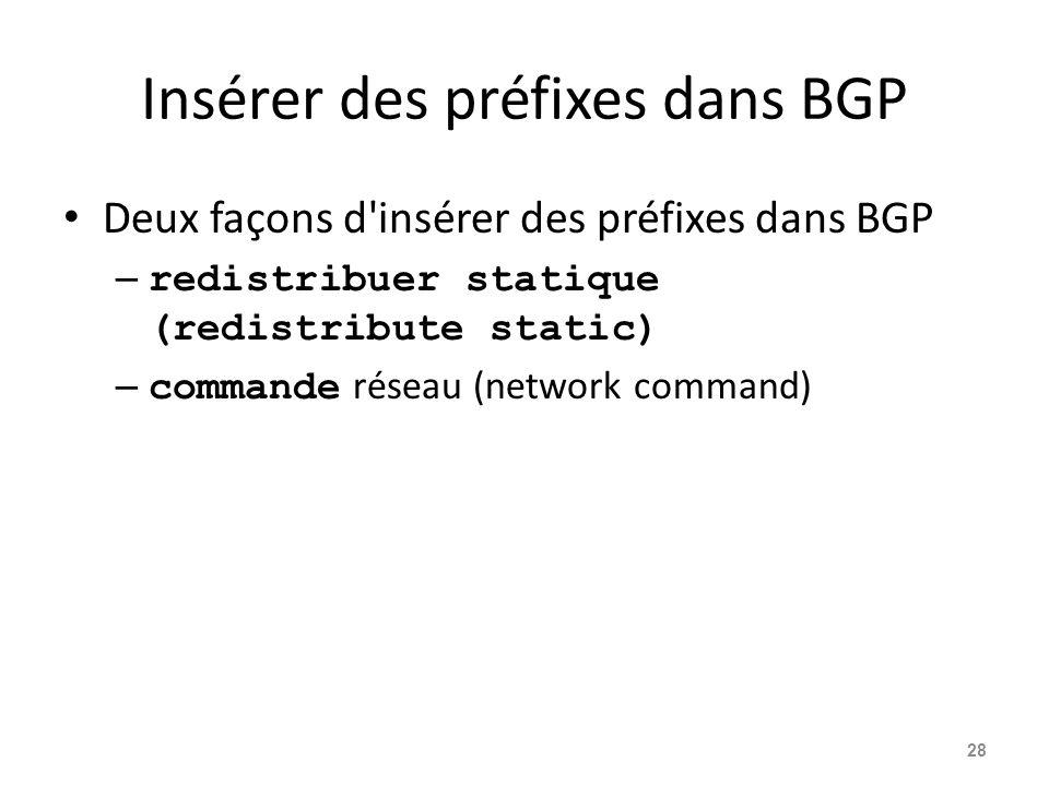 Insérer des préfixes dans BGP Deux façons d'insérer des préfixes dans BGP – redistribuer statique (redistribute static) – commande réseau (network com