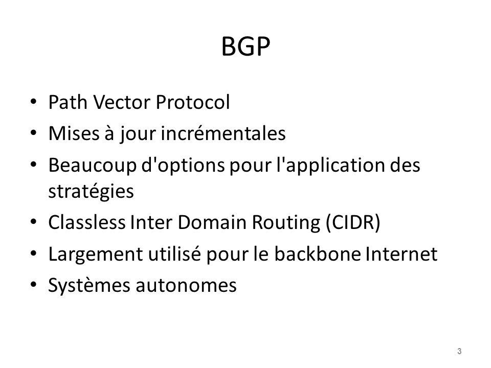 BGP Path Vector Protocol Mises à jour incrémentales Beaucoup d'options pour l'application des stratégies Classless Inter Domain Routing (CIDR) Largeme