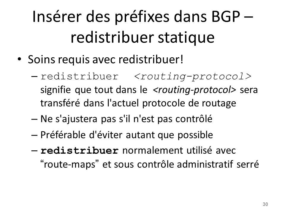 Insérer des préfixes dans BGP – redistribuer statique Soins requis avec redistribuer! – redistribuer signifie que tout dans le sera transféré dans l'a