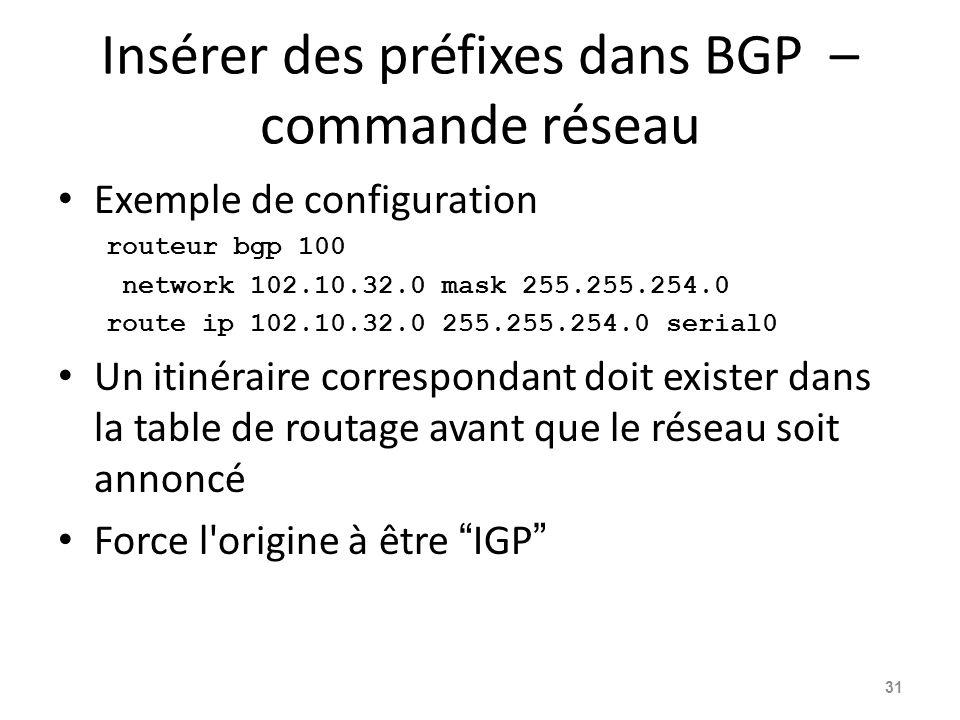 Insérer des préfixes dans BGP – commande réseau Exemple de configuration routeur bgp 100 network 102.10.32.0 mask 255.255.254.0 route ip 102.10.32.0 2