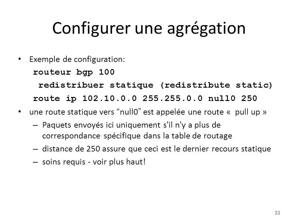 Configurer une agrégation Exemple de configuration: routeur bgp 100 redistribuer statique (redistribute static) route ip 102.10.0.0 255.255.0.0 null0