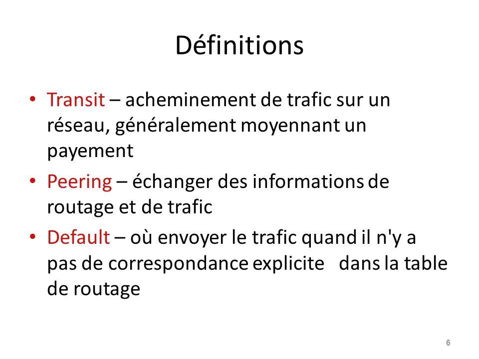 Définitions Transit – acheminement de trafic sur un réseau, généralement moyennant un payement Peering – échanger des informations de routage et de tr