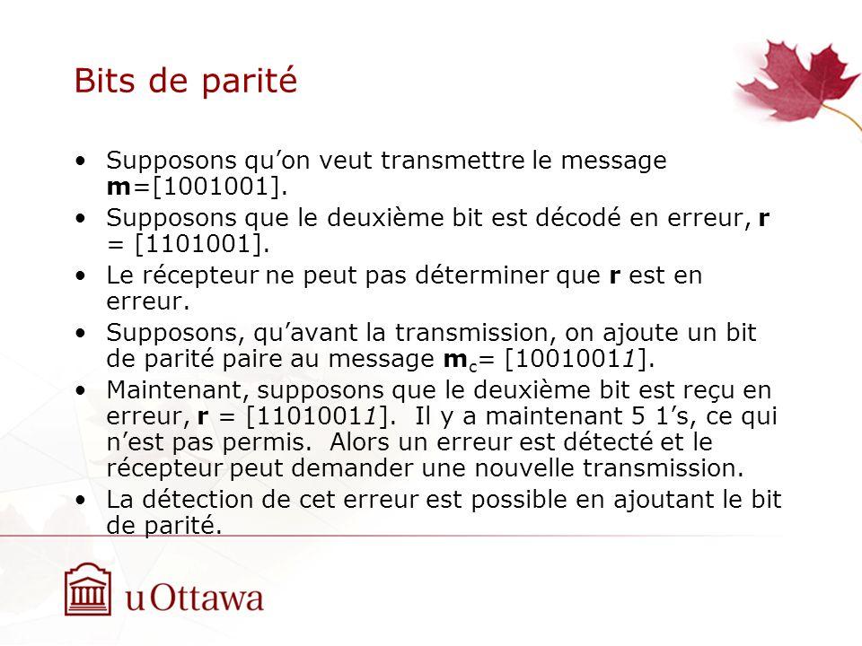 Bits de parité Supposons quon veut transmettre le message m=[1001001].