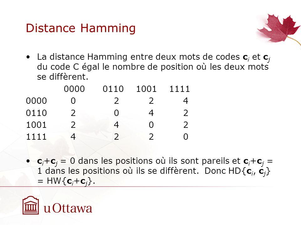 Distance Hamming La distance Hamming entre deux mots de codes c i et c j du code C égal le nombre de position où les deux mots se diffèrent.