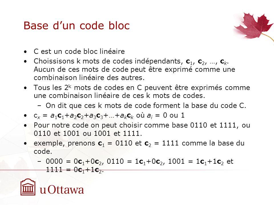 Base dun code bloc C est un code bloc linéaire Choissisons k mots de codes indépendants, c 1, c 2, …, c k.