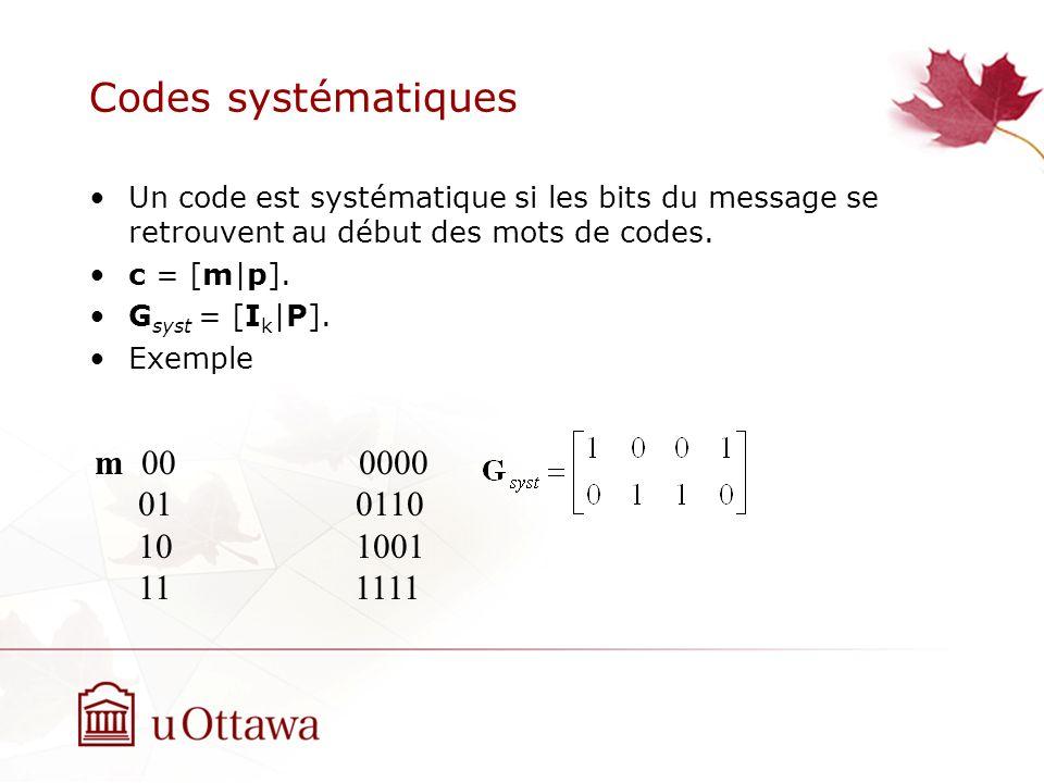 Codes systématiques Un code est systématique si les bits du message se retrouvent au début des mots de codes.