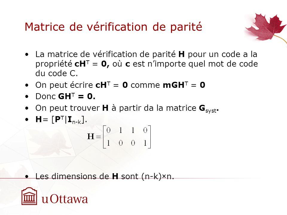 Matrice de vérification de parité La matrice de vérification de parité H pour un code a la propriété cH T = 0, où c est nimporte quel mot de code du code C.