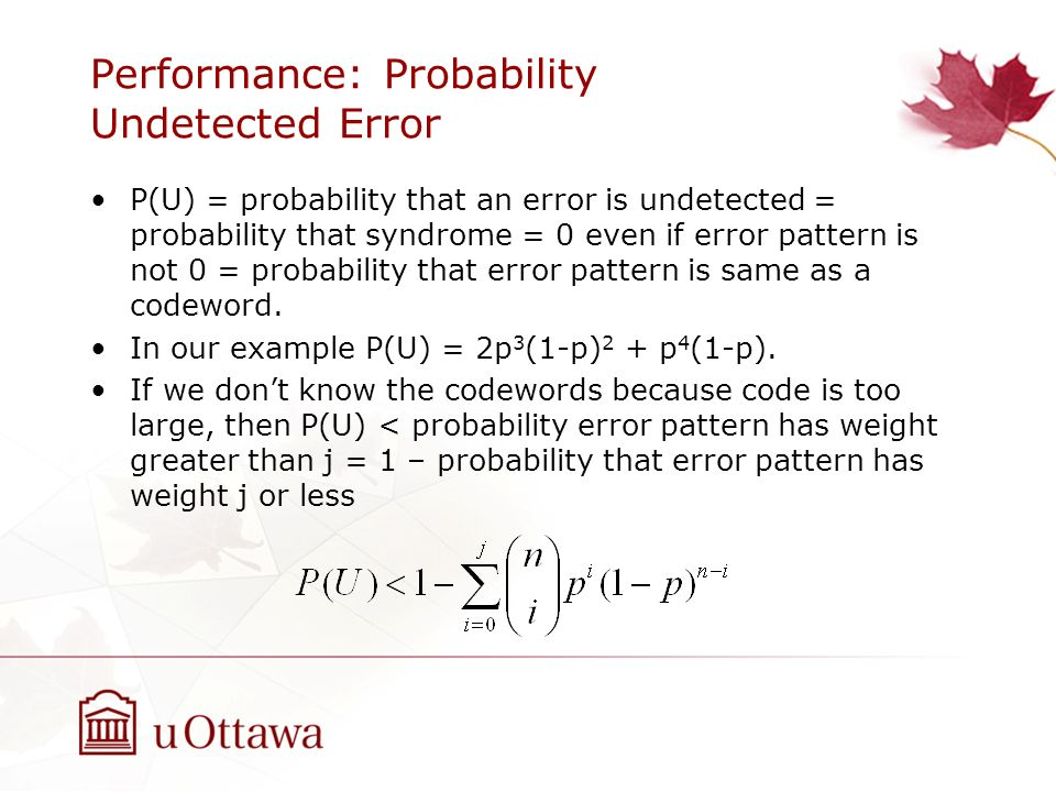 Performance: Probability Undetected Error P(U) = probability that an error is undetected = probability that syndrome = 0 even if error pattern is not