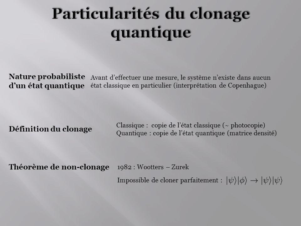 Fidélité simple Fidélité moyenne : Vecteur initial Matrices densités réduites : : Matrice densité totale dun système à 2 qubits Sphère de Bloch