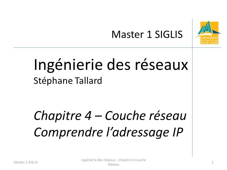 Master 1 SIGLIS Ingénierie des réseaux Stéphane Tallard Chapitre 4 – Couche réseau Comprendre ladressage IP Master 1 SIGLIS1 Ingénierie des réseaux -