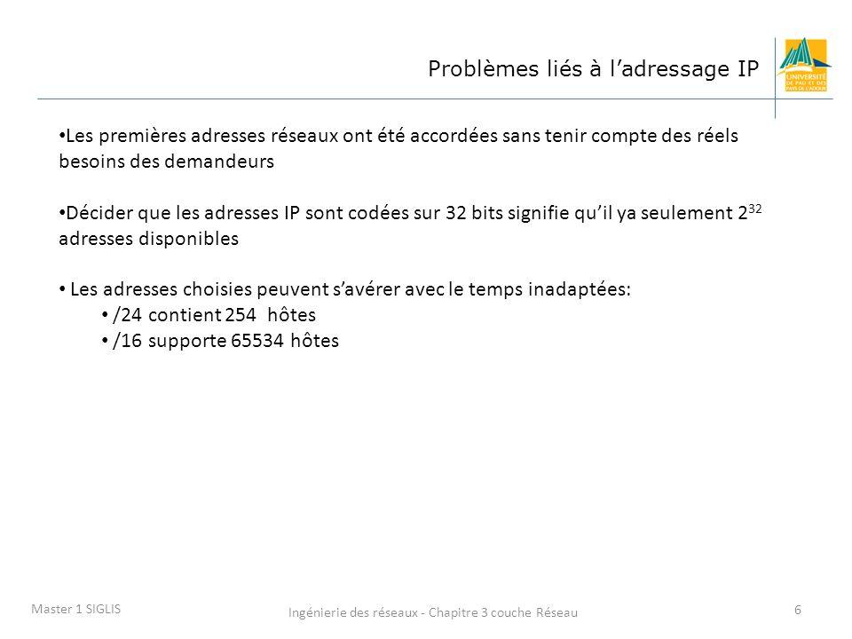 Ingénierie des réseaux - Chapitre 3 couche Réseau 6 Master 1 SIGLIS Problèmes liés à ladressage IP Les premières adresses réseaux ont été accordées sa