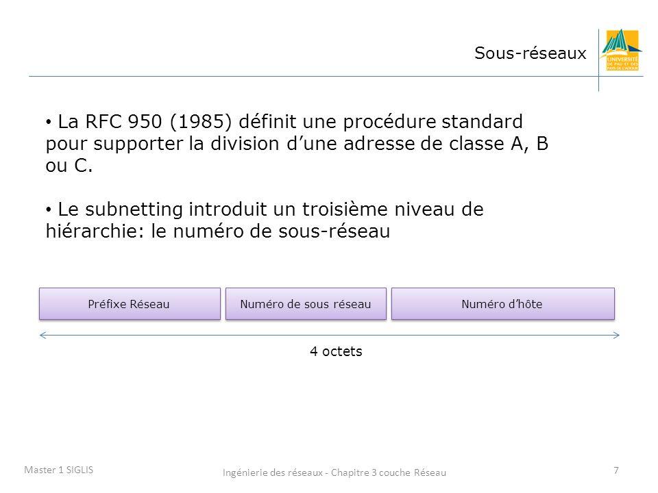 Ingénierie des réseaux - Chapitre 3 couche Réseau 7 Master 1 SIGLIS Sous-réseaux La RFC 950 (1985) définit une procédure standard pour supporter la di