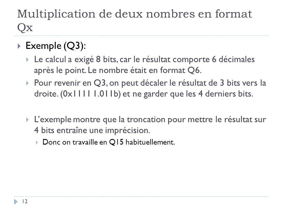 Multiplication de deux nombres en format Qx Exemple (Q3): Le calcul a exigé 8 bits, car le résultat comporte 6 décimales après le point.