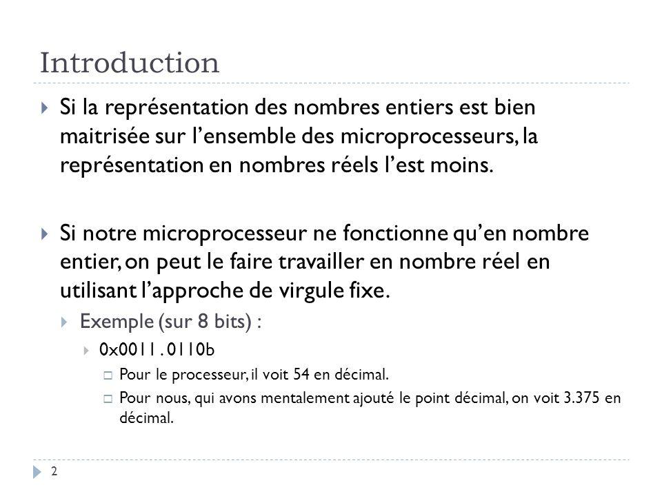 Introduction Si la représentation des nombres entiers est bien maitrisée sur lensemble des microprocesseurs, la représentation en nombres réels lest moins.