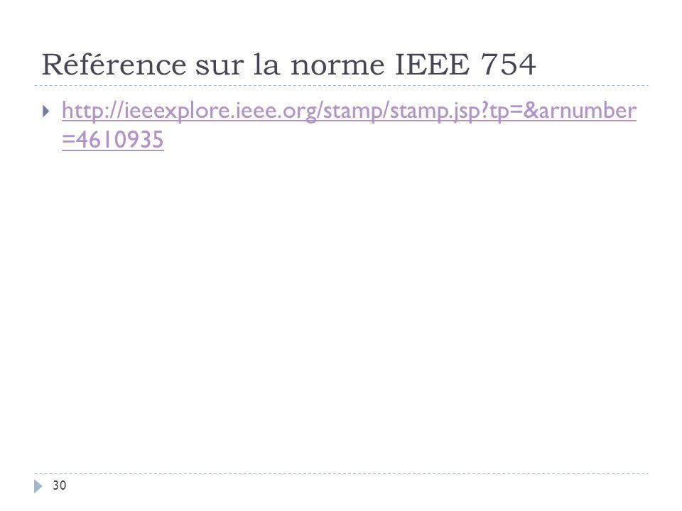 Référence sur la norme IEEE 754 30 http://ieeexplore.ieee.org/stamp/stamp.jsp?tp=&arnumber =4610935 http://ieeexplore.ieee.org/stamp/stamp.jsp?tp=&arnumber =4610935