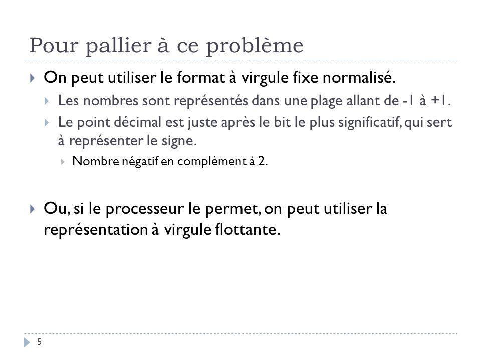 Pour pallier à ce problème 5 On peut utiliser le format à virgule fixe normalisé.