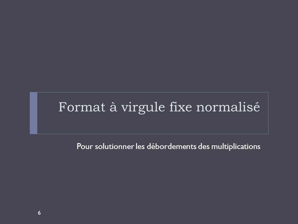 Format à virgule fixe normalisé Représenté par le vocable Qx, avec x, le nombre de décimales après le point.