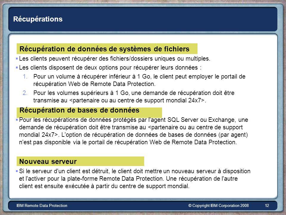 © Copyright IBM Corporation 2008IBM Remote Data Protection 12 Récupérations Récupération de données de systèmes de fichiers Les clients peuvent récupérer des fichiers/dossiers uniques ou multiples.
