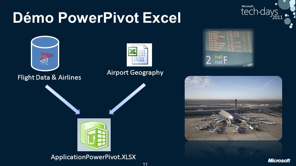 11 Démo PowerPivot Excel Flight Data & Airlines Airport Geography ApplicationPowerPivot.XLSX