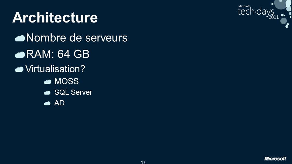 17 Architecture Nombre de serveurs RAM: 64 GB Virtualisation? MOSS SQL Server AD