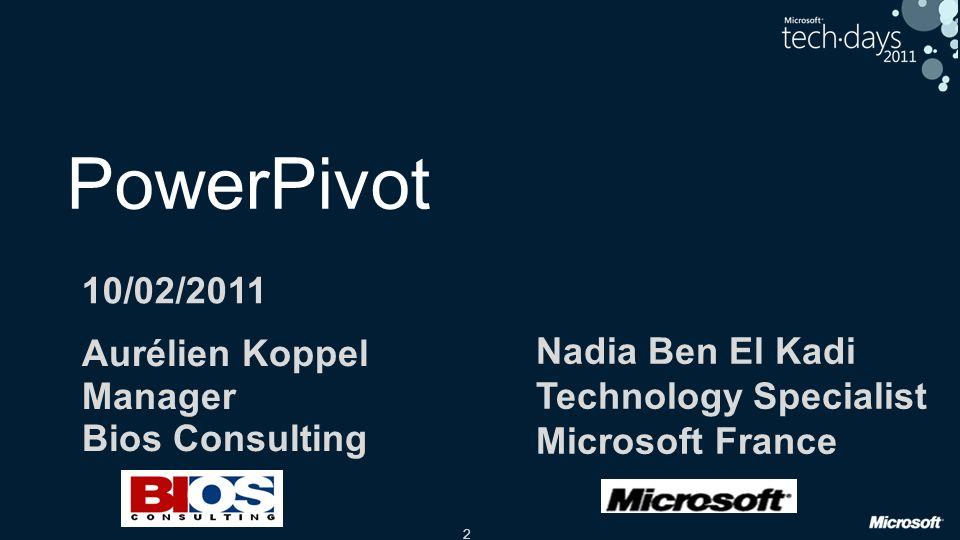 2 PowerPivot Aurélien Koppel Manager Bios Consulting Nadia Ben El Kadi Technology Specialist Microsoft France 10/02/2011