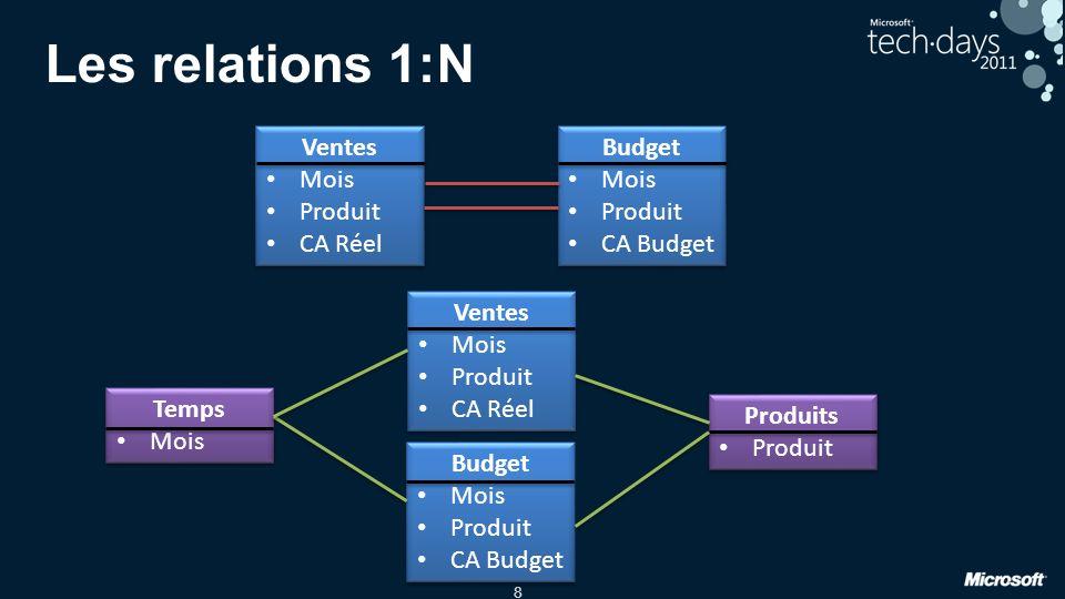 8 Les relations 1:N Ventes Mois Produit CA Réel Ventes Mois Produit CA Réel Budget Mois Produit CA Budget Budget Mois Produit CA Budget Ventes Mois Pr
