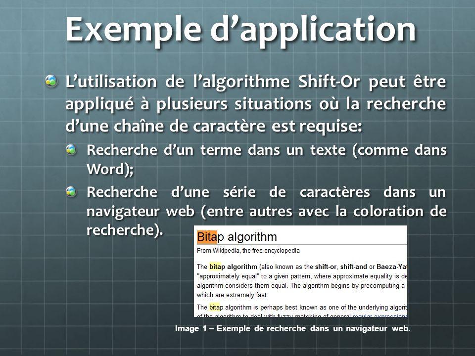Exemple dapplication Lutilisation de lalgorithme Shift-Or peut être appliqué à plusieurs situations où la recherche dune chaîne de caractère est requi