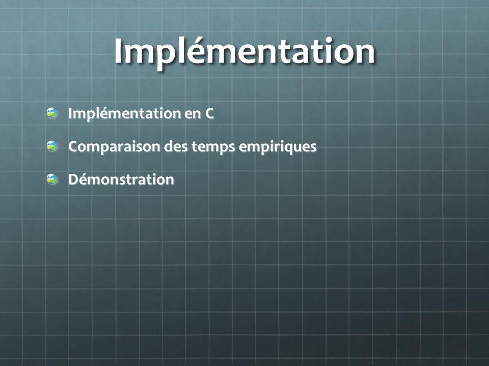 Implémentation Implémentation en C Comparaison des temps empiriques Démonstration