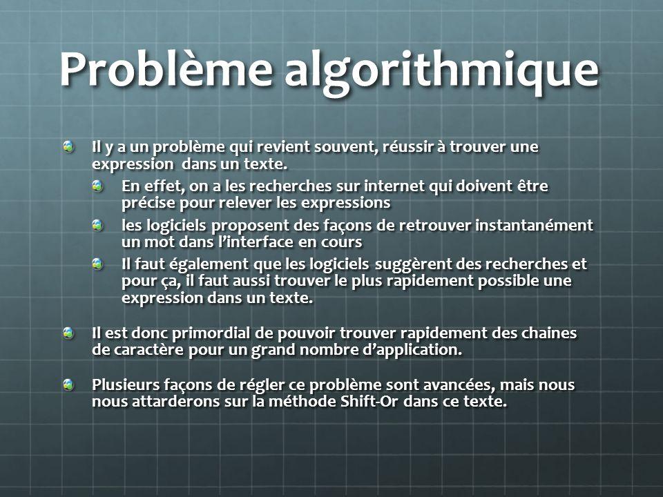 Problème algorithmique Il y a un problème qui revient souvent, réussir à trouver une expression dans un texte. En effet, on a les recherches sur inter