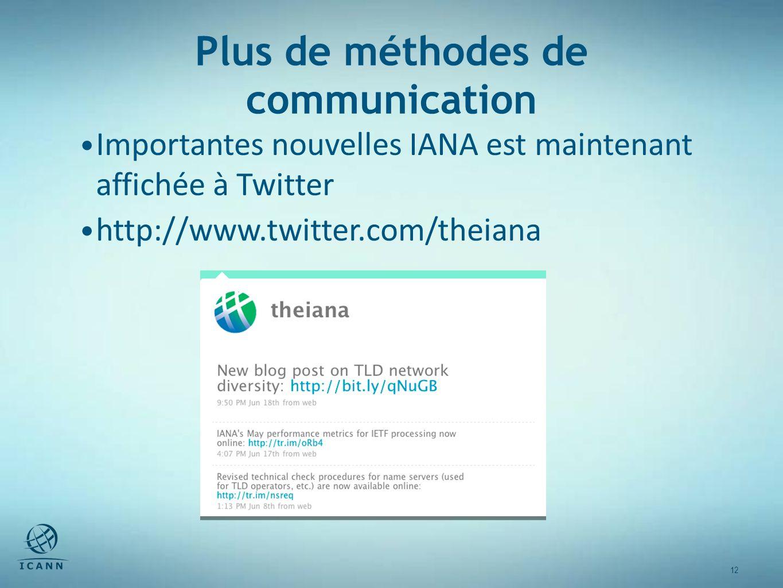 12 Plus de méthodes de communication Importantes nouvelles IANA est maintenant affichée à Twitter http://www.twitter.com/theiana