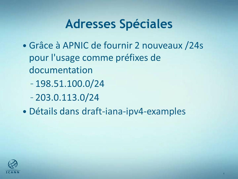 4 4 Adresses Spéciales Grâce à APNIC de fournir 2 nouveaux /24s pour l usage comme préfixes de documentation – 198.51.100.0/24 – 203.0.113.0/24 Détails dans draft-iana-ipv4-examples