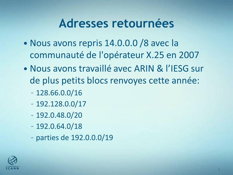 5 5 Adresses retournées Nous avons repris 14.0.0.0 /8 avec la communauté de l opérateur X.25 en 2007 Nous avons travaillé avec ARIN & lIESG sur de plus petits blocs renvoyes cette année: – 128.66.0.0/16 – 192.128.0.0/17 – 192.0.48.0/20 – 192.0.64.0/18 – parties de 192.0.0.0/19