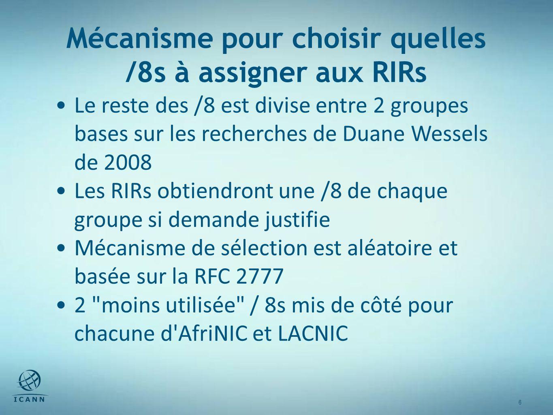 6 6 Mécanisme pour choisir quelles /8s à assigner aux RIRs Le reste des /8 est divise entre 2 groupes bases sur les recherches de Duane Wessels de 2008 Les RIRs obtiendront une /8 de chaque groupe si demande justifie Mécanisme de sélection est aléatoire et basée sur la RFC 2777 2 moins utilisée / 8s mis de côté pour chacune d AfriNIC et LACNIC