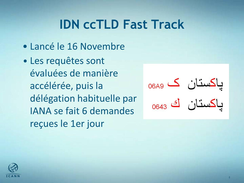 8 8 IDN ccTLD Fast Track Lancé le 16 Novembre Les requêtes sont évaluées de manière accélérée, puis la délégation habituelle par IANA se fait 6 demandes reçues le 1er jour
