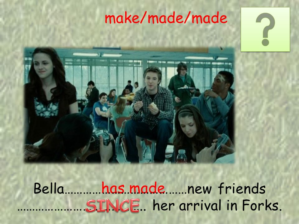has made make/made/made Bella…………………………………new friends ………………………………….. her arrival in Forks.