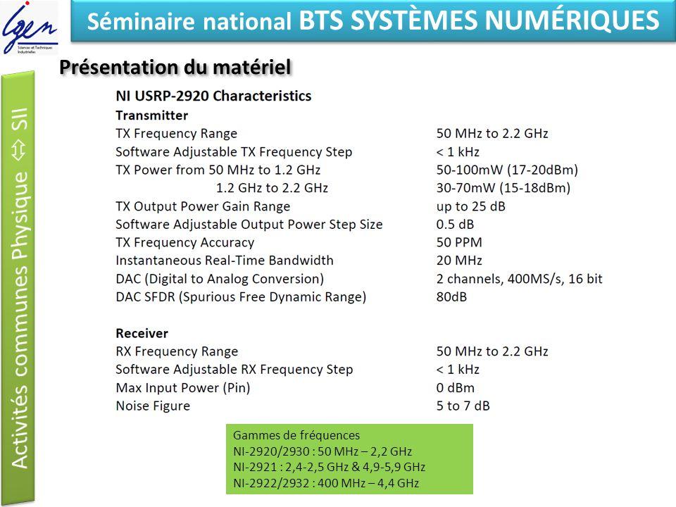 Eléments de constat Séminaire national BTS SYSTÈMES NUMÉRIQUES Présentation du matériel Spécifications Gammes de fréquences NI-2920/2930 : 50 MHz – 2,2 GHz NI-2921 : 2,4-2,5 GHz & 4,9-5,9 GHz NI-2922/2932 : 400 MHz – 4,4 GHz