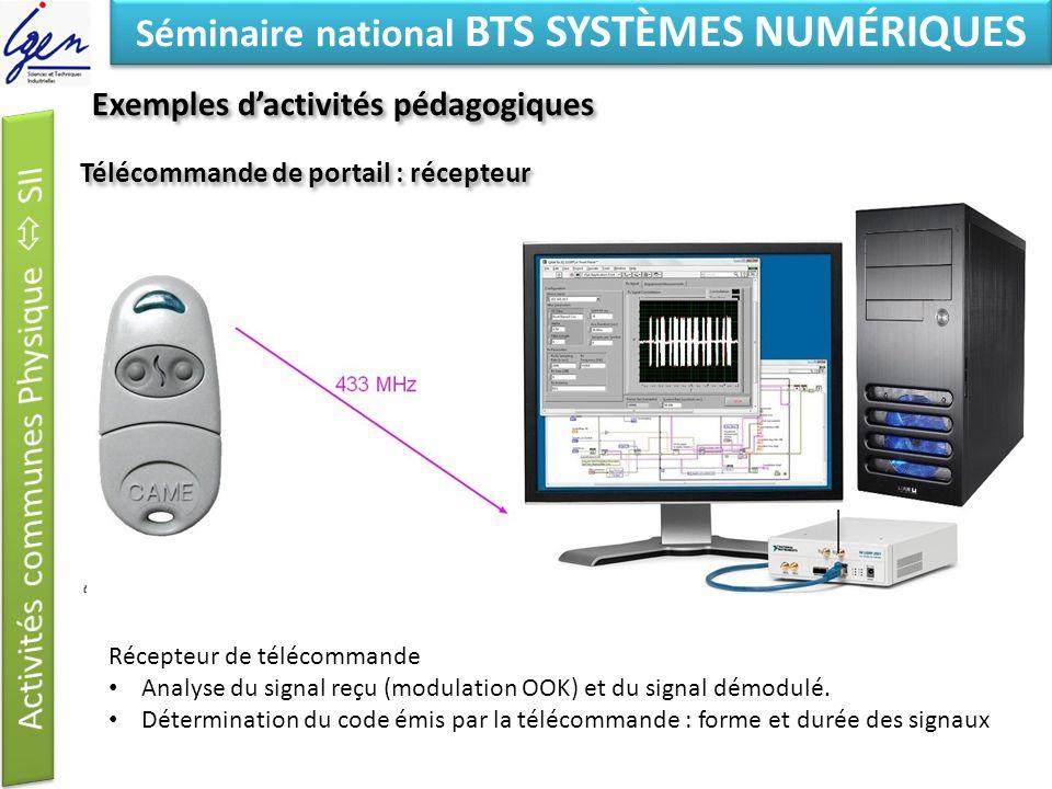 Eléments de constat Séminaire national BTS SYSTÈMES NUMÉRIQUES Télécommande de portail : récepteur Récepteur de télécommande Analyse du signal reçu (m