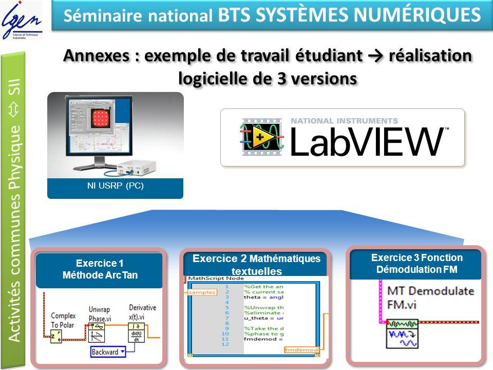 Eléments de constat Séminaire national BTS SYSTÈMES NUMÉRIQUES Annexes : exemple de travail étudiant réalisation logicielle de 3 versions NI USRP (PC)