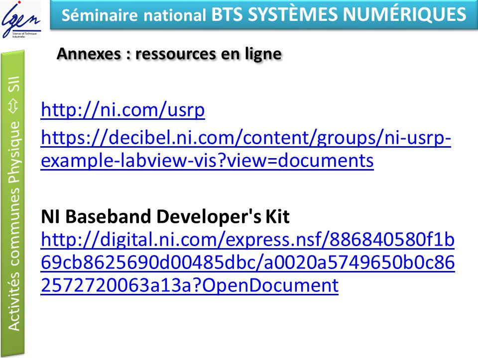 Eléments de constat Séminaire national BTS SYSTÈMES NUMÉRIQUES Annexes : ressources en ligne http://ni.com/usrp https://decibel.ni.com/content/groups/