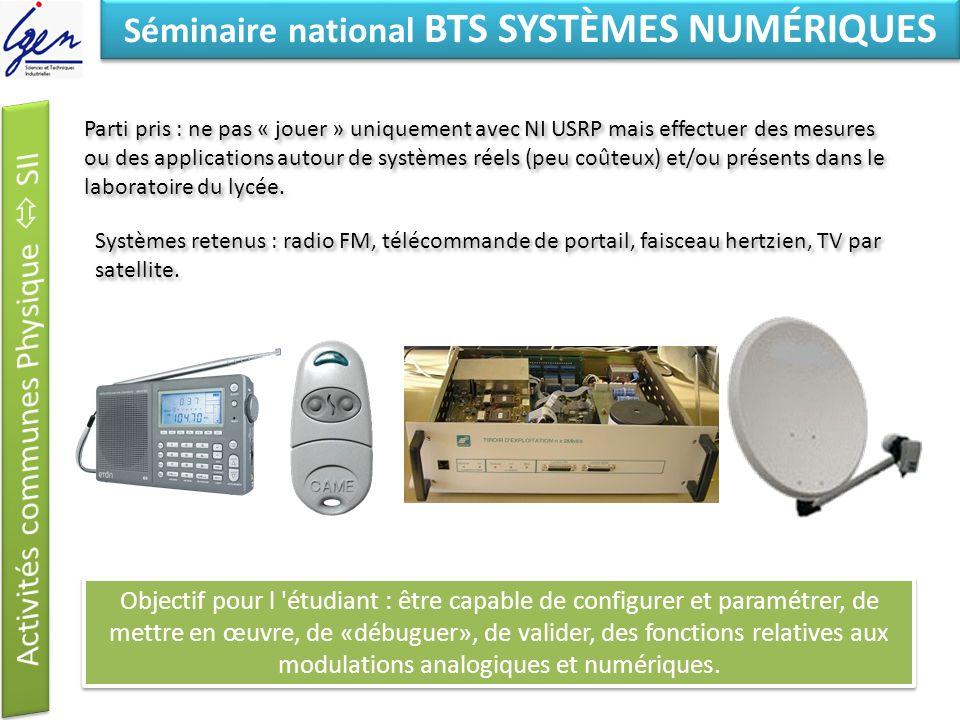 Eléments de constat Séminaire national BTS SYSTÈMES NUMÉRIQUES Eléments du référentiel dactivités professionnelles Savoirs associés S7 Réseaux, télécommunications et modes de transmission S7.1.