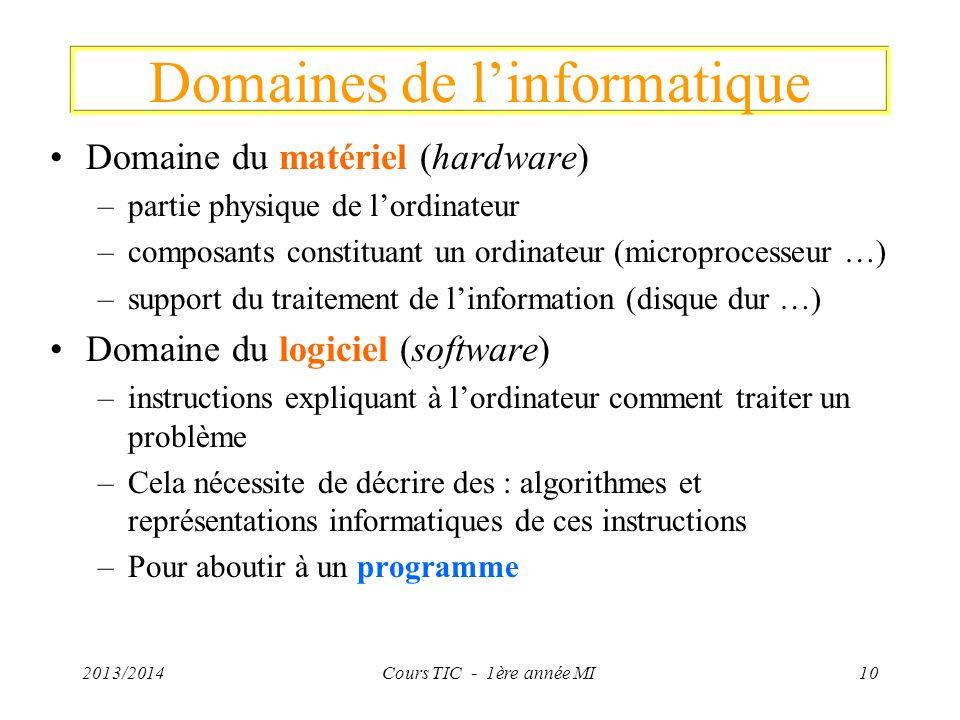 2013/2014Cours TIC - 1ère année MI10 Domaines de linformatique Domaine du matériel (hardware) –partie physique de lordinateur –composants constituant