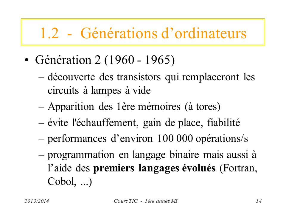 2013/2014Cours TIC - 1ère année MI14 1.2 - Générations dordinateurs Génération 2 (1960 - 1965) –découverte des transistors qui remplaceront les circui