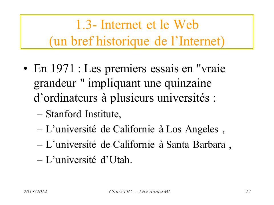 1.3- Internet et le Web (un bref historique de lInternet) En 1971 : Les premiers essais en