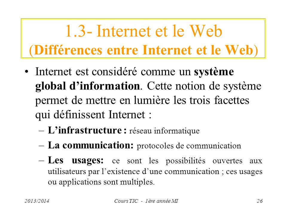 1.3- Internet et le Web (Différences entre Internet et le Web) Internet est considéré comme un système global dinformation. Cette notion de système pe