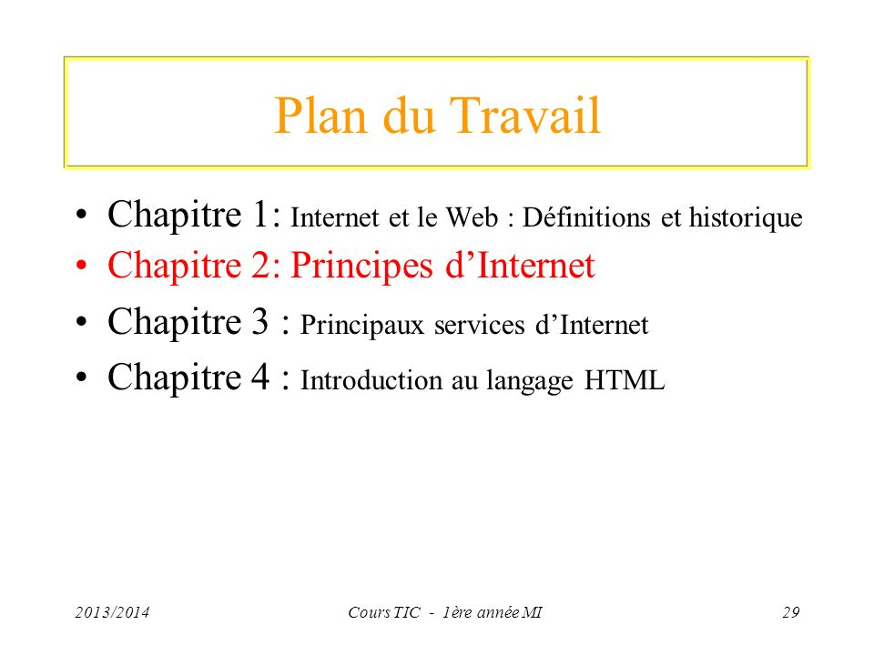 Plan du Travail Chapitre 1: Internet et le Web : Définitions et historique Chapitre 2: Principes dInternet Chapitre 3 : Principaux services dInternet