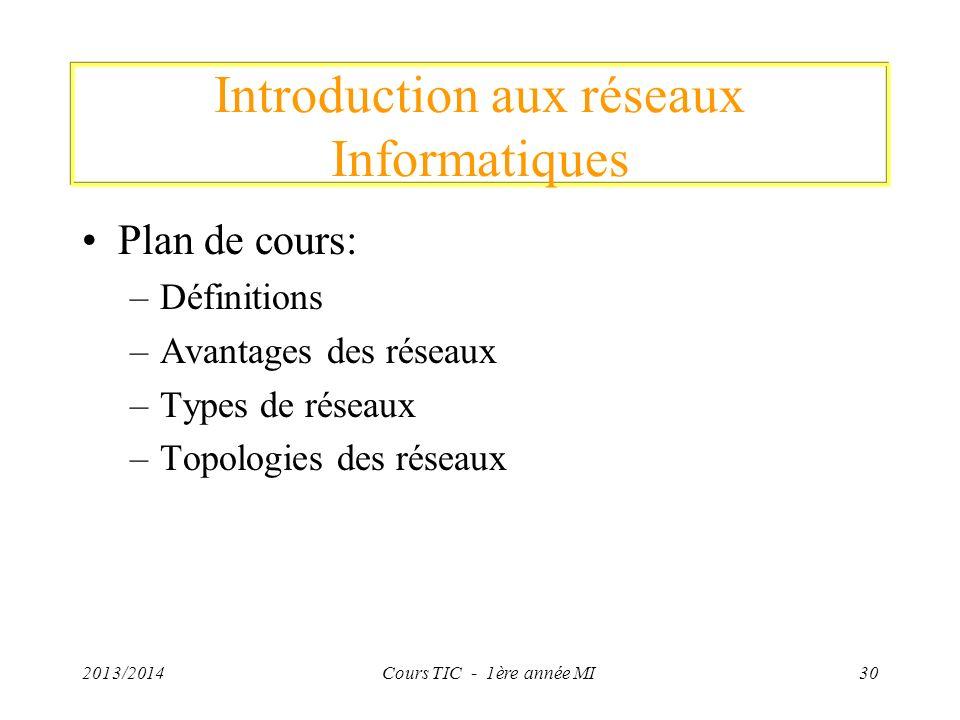 Introduction aux réseaux Informatiques Plan de cours: –Définitions –Avantages des réseaux –Types de réseaux –Topologies des réseaux 2013/2014Cours TIC