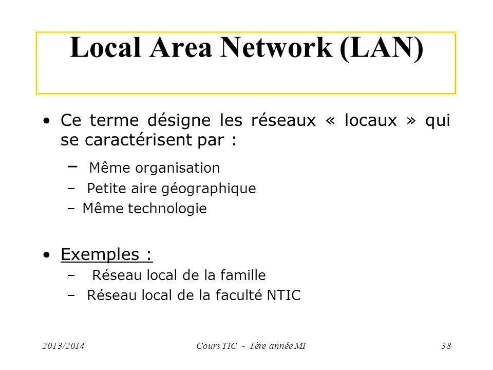 Local Area Network (LAN) Ce terme désigne les réseaux « locaux » qui se caractérisent par : – Même organisation – Petite aire géographique –Même techn
